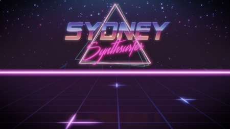 chrome first name Sydney with synthsurfer subtitle in synthwave retro style with triangle in blue violet and black colors Stock fotó