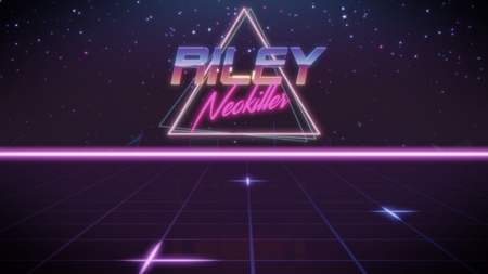chrome first name Riley with neokiller subtitle in synthwave retro style with triangle in blue violet and black colors