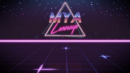 chrome first name Mya with lasercop subtitle in synthwave retro style with triangle in blue violet and black colors Banco de Imagens