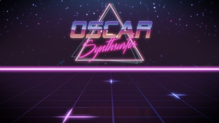 chrome first name Oscar with synthsurfer subtitle in synthwave retro style with triangle in blue violet and black colors