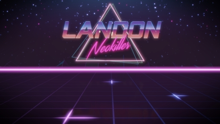 chrome first name Landon with neokiller subtitle in synthwave retro style with triangle in blue violet and black colors