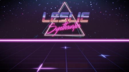 chrome first name Leslie with synthsurfer subtitle in synthwave retro style with triangle in blue violet and black colors