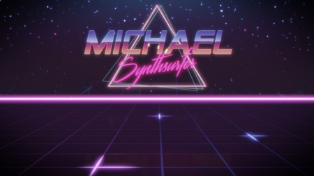 chrome first name Michael with synthsurfer subtitle in synthwave retro style with triangle in blue violet and black colors