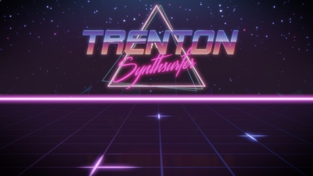 chrome first name Trenton with synthsurfer subtitle in synthwave retro style with triangle in blue violet and black colors