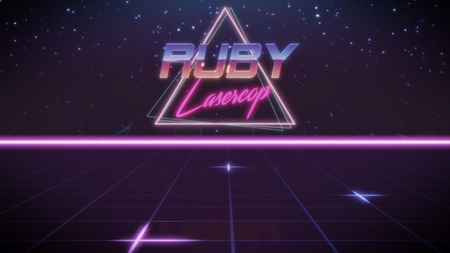 chrome first name Ruby with lasercop subtitle in synthwave retro style with triangle in blue violet and black colors