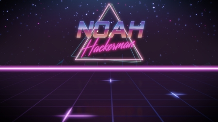 chrome first name Noah with hackerman subtitle in synthwave retro style with triangle in blue violet and black colors