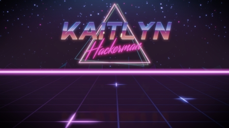 chrome first name Kaitlyn with hackerman subtitle in synthwave retro style with triangle in blue violet and black colors