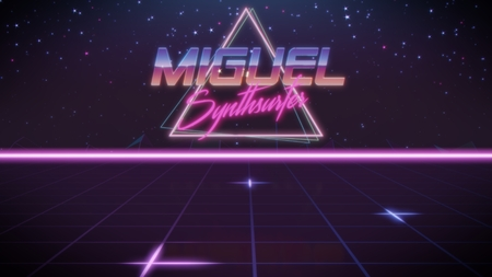 chrome first name Miguel with synthsurfer subtitle in synthwave retro style with triangle in blue violet and black colors Stock fotó