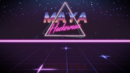 chrome first name Maya with hackerman subtitle in synthwave retro style with triangle in blue violet and black colors