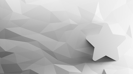 3d icon of five-pointed star on low-poly abstract triangular mosaic on grayscale background Banque d'images