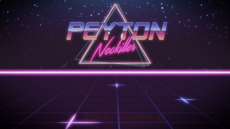 chrome first name Peyton with neokiller subtitle in synthwave retro style with triangle in blue violet and black colors