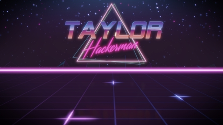 chrome first name Taylor with hackerman subtitle in synthwave retro style with triangle in blue violet and black colors