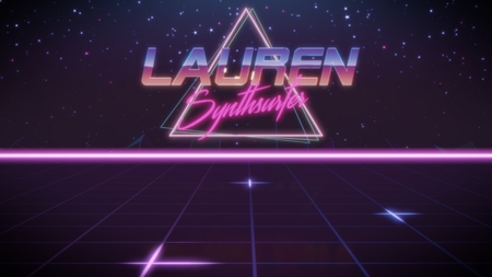 chrome first name Lauren with synthsurfer subtitle in synthwave retro style with triangle in blue violet and black colors Banco de Imagens