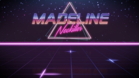 chrome first name Madeline with neokiller subtitle in synthwave retro style with triangle in blue violet and black colors