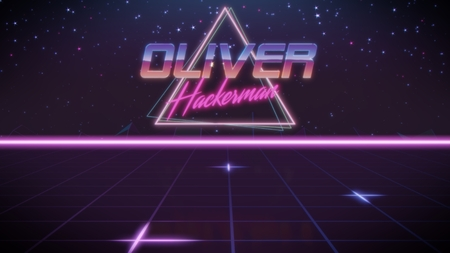 chrome first name Oliver with hackerman subtitle in synthwave retro style with triangle in blue violet and black colors
