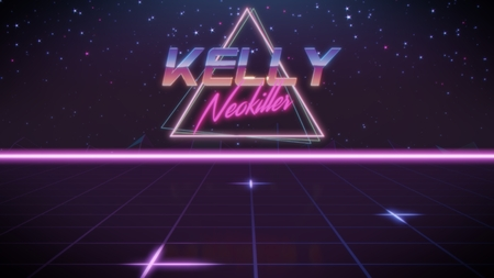 chrome first name Kelly with neokiller subtitle in synthwave retro style with triangle in blue violet and black colors Foto de archivo