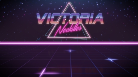 chrome first name Victoria with neokiller subtitle in synthwave retro style with triangle in blue violet and black colors