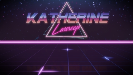 chrome first name Katherine with lasercop subtitle in synthwave retro style with triangle in blue violet and black colors