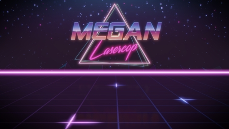 chrome first name Megan with lasercop subtitle in synthwave retro style with triangle in blue violet and black colors