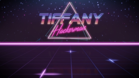 chrome first name Tiffany with hackerman subtitle in synthwave retro style with triangle in blue violet and black colors