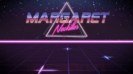 chrome first name Margaret with neokiller subtitle in synthwave retro style with triangle in blue violet and black colors