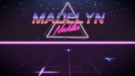 chrome first name Madelyn with neokiller subtitle in synthwave retro style with triangle in blue violet and black colors