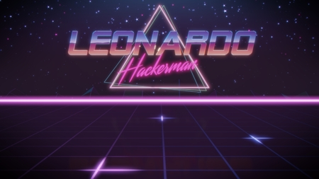 chrome first name Leonardo with hackerman subtitle in synthwave retro style with triangle in blue violet and black colors Stock fotó