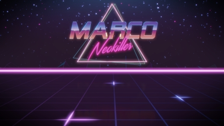 chrome first name Marco with neokiller subtitle in synthwave retro style with triangle in blue violet and black colors