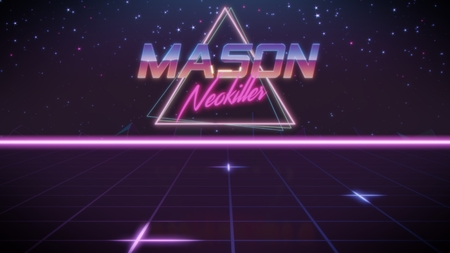 chrome first name Mason with neokiller subtitle in synthwave retro style with triangle in blue violet and black colors