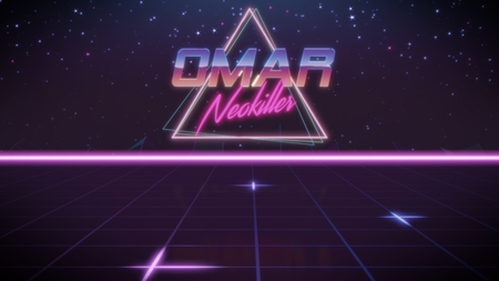 chrome first name Omar with neokiller subtitle in synthwave retro style with triangle in blue violet and black colors Foto de archivo
