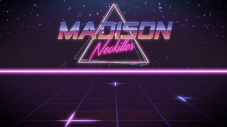 chrome first name Madison with neokiller subtitle in synthwave retro style with triangle in blue violet and black colors Stock fotó