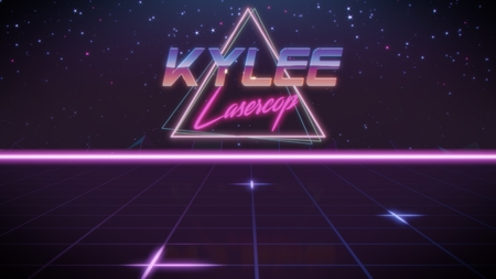 chrome first name Kylee with lasercop subtitle in synthwave retro style with triangle in blue violet and black colors