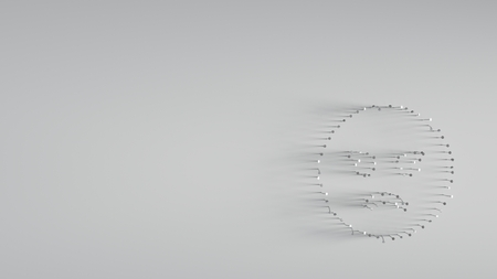 various of metal nails in shape of angry face emoticon on gray background with long shadows directed to right