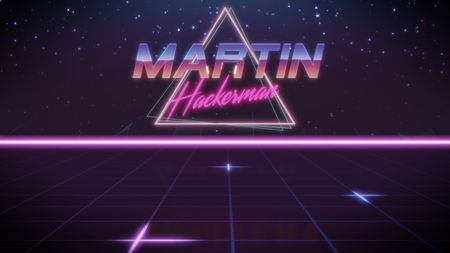 chrome first name Martin with hackerman subtitle in synthwave retro style with triangle in blue violet and black colors
