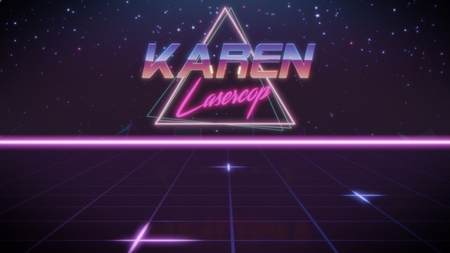 chrome first name Karen with lasercop subtitle in synthwave retro style with triangle in blue violet and black colors