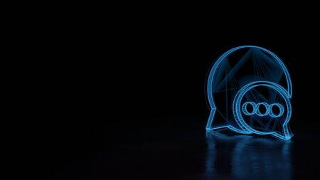 3d techno neon blue glowing wireframe with glitches symbol of two rounded chat bubbles with three dots isolated on black background with distorted reflection on floor