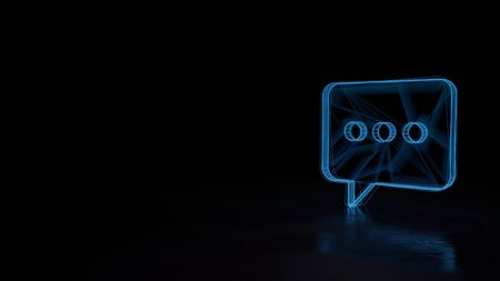 3d techno neon blue glowing wireframe with glitches symbol of rectangular rounded chat bubble with three dots isolated on black background with distorted reflection on floor