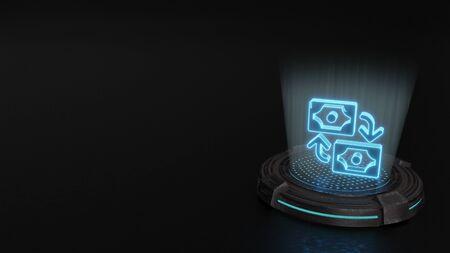 blue stripes digital laser 3d hologram symbol of exchange 1 render on old metal sci-fi pad background Archivio Fotografico - 125488659