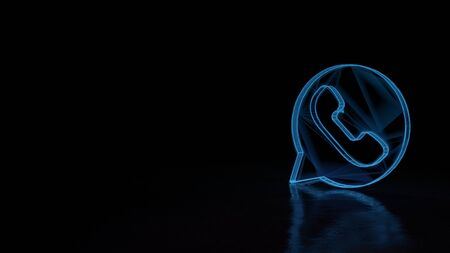 3d techno neon blue glowing wireframe with glitches symbol of communication whatsapp isolated on black background with distorted reflection on floor