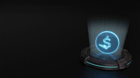 blue stripes digital laser 3d hologram symbol of dollar 3 render on old metal sci-fi pad background Stock Photo