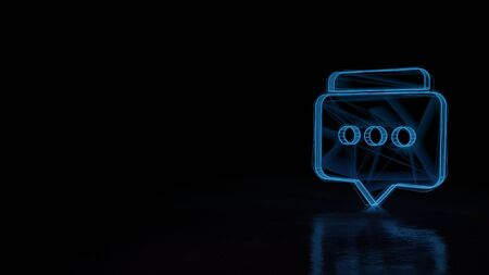 3d techno neon blue glowing wireframe with glitches symbol of two rectangular rounded chat bubbles with three dots isolated on black background with distorted reflection on floor