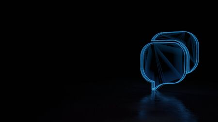 3d techno neon blue glowing wireframe with glitches symbol of communication chat 16 isolated on black background with distorted reflection on floor