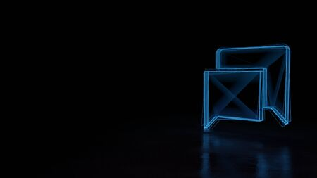 3d techno neon blue glowing wireframe with glitches symbol of two rectangular chat bubbles isolated on black background with distorted reflection on floor Stok Fotoğraf