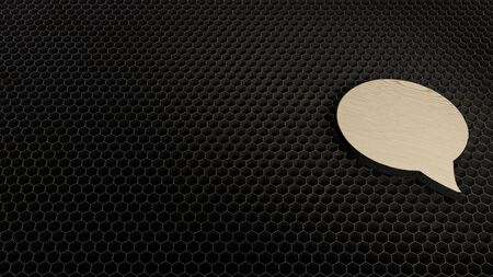 laser cut plywood 3d symbol of rounded chat bubble render on metal honeycomb inside laser engraving machine background