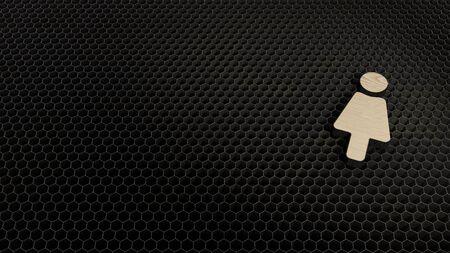 laser cut plywood 3d symbol of female render on metal honeycomb inside laser engraving machine background
