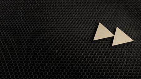 laser cut plywood 3d symbol of fast forward09 render on metal honeycomb inside laser engraving machine background
