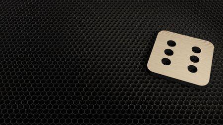 laser cut plywood 3d symbol of dice six render on metal honeycomb inside laser engraving machine background