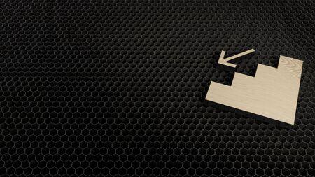 laser cut plywood 3d symbol of fallen render on metal honeycomb inside laser engraving machine background Archivio Fotografico