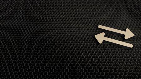 laser cut plywood 3d symbol of exchange alt render on metal honeycomb inside laser engraving machine background Archivio Fotografico - 126896566