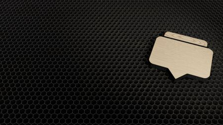 laser cut plywood 3d symbol of two rectangular chat bubbles render on metal honeycomb inside laser engraving machine background Archivio Fotografico